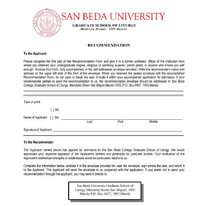 Letter Of Recommendation Header from www.sanbeda.edu.ph