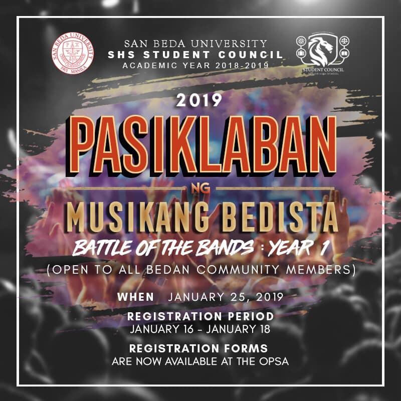 Halina't lumahok sa kauna-unahang PASIKLABAN NG MUSIKANG BEDISTA - Battle of the Bands YEAR 1