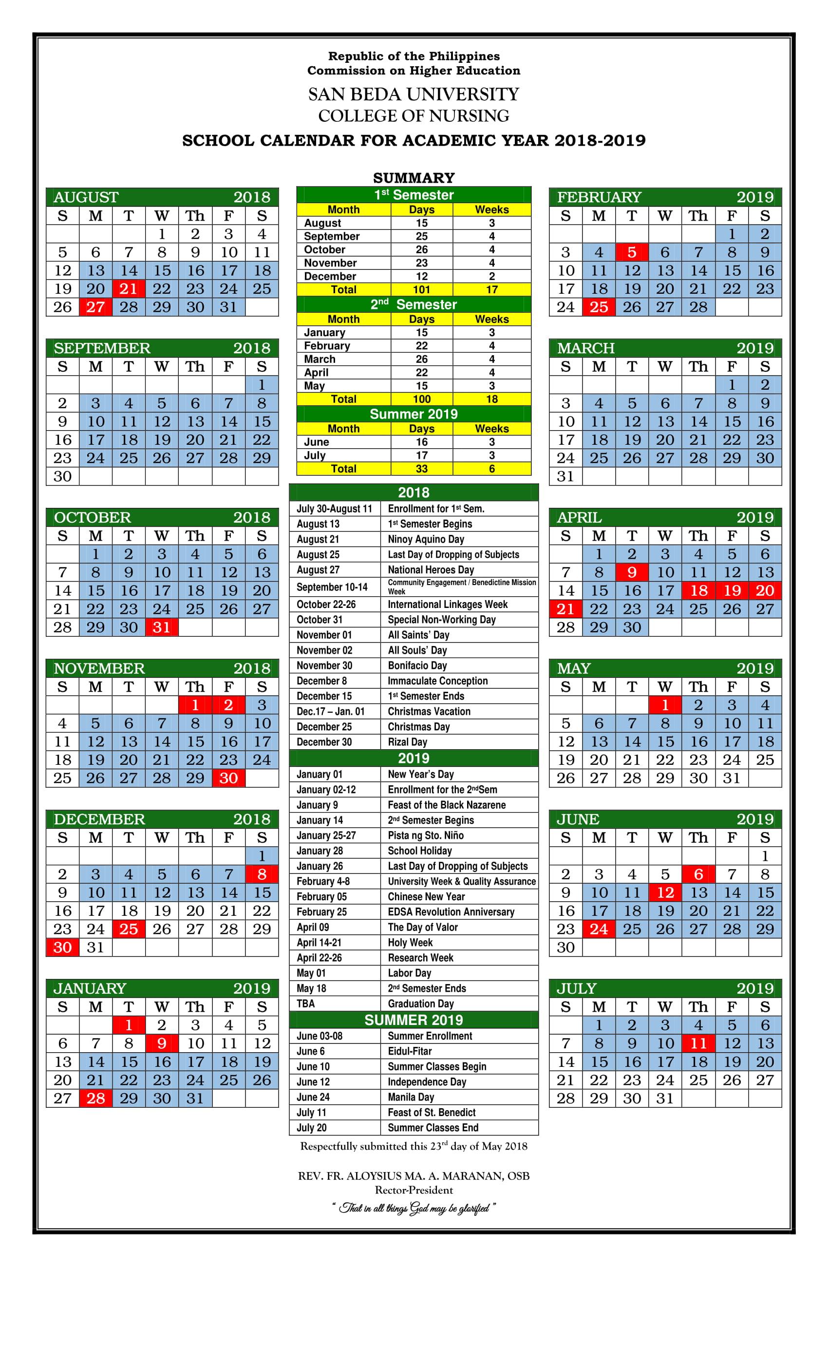 Sbu Academic Calendar.Calendar San Beda University